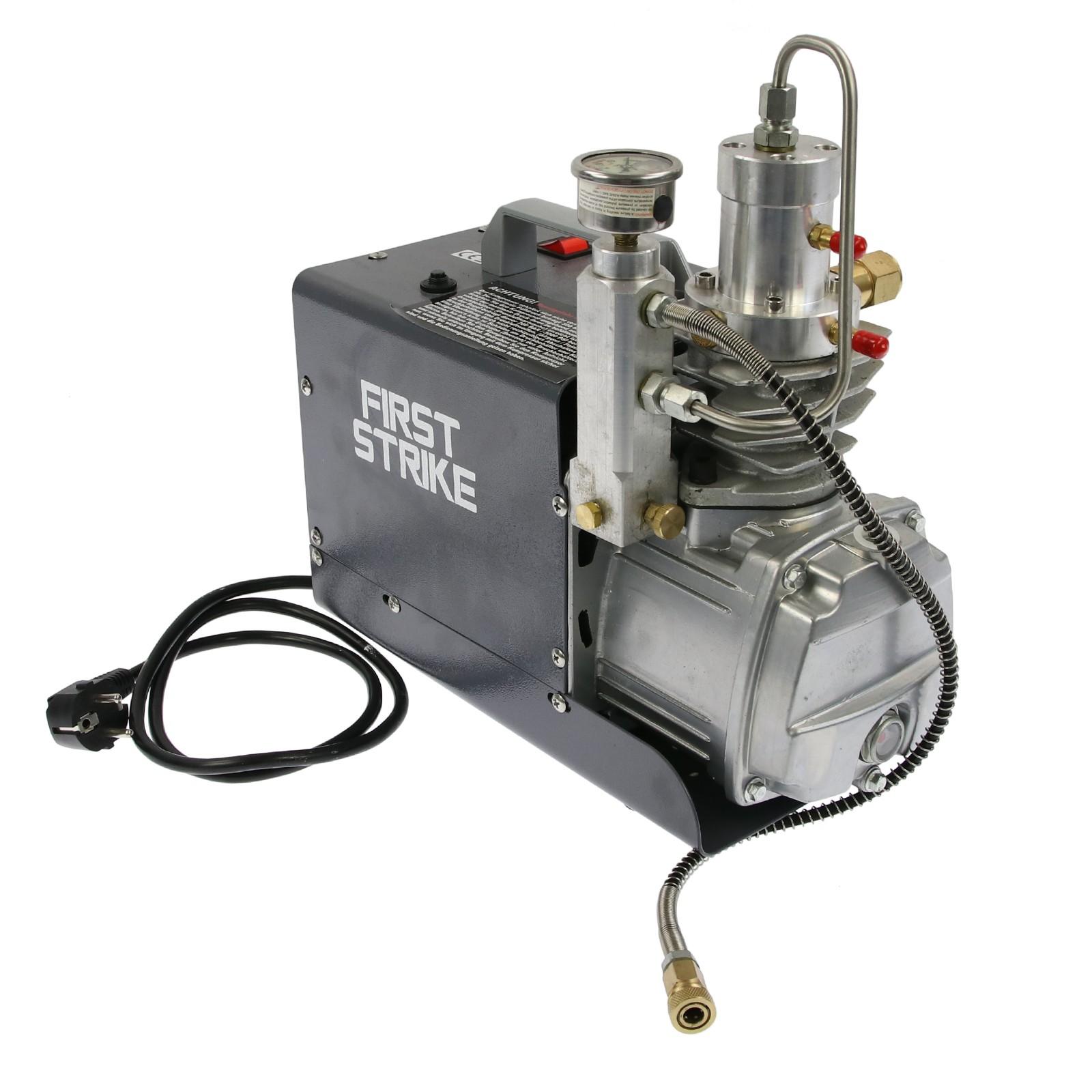 Vzduchový kompresor pro plnění vzduchových kartuší větrovek. FIRST STRIKE - WP 300 bar - dostupný od 14.9.2019 předobjednávky monžné