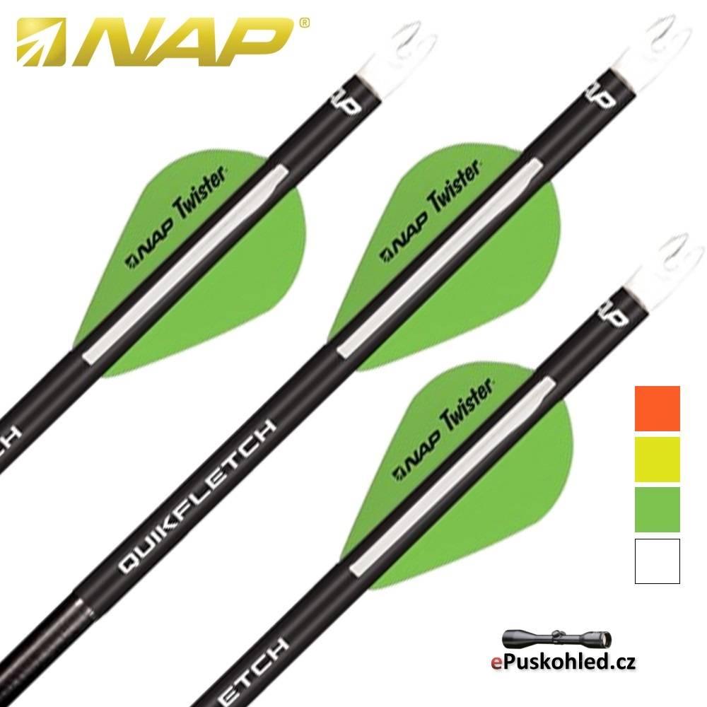 NAP letky Quikfletch Twister - Black Tube - různé barvy